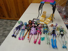 MONSTER HIGH BARBIE DOLLS LOT OF  8   DOLLS   RARE DOLLS  & PATIO FURNITURE  EUC