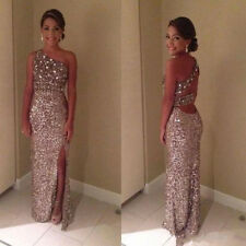 One Shoulder Sparkly Sequin Long Prom Dresses with Side Slit 2016 Evening Gown