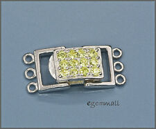 Sterling Silver 3 Strand Rectangle Push Clasp w/ CZ Lime Green #51299