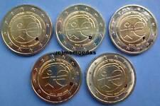 Deutschland 5 x 2 Euro Gedenkmünzen 2009 WWU 10 J. Euromünzen commemorative unc
