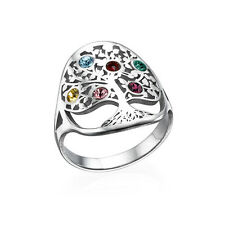 Family Tree Ring with Birthstones in 925 Sterling Silver