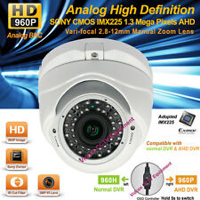HD AHD 1.3MP SONY CMOS 960P Night Vision 2.8-12mm Lens CCTV Security Dome Camera