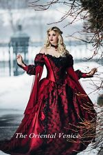 Medieval Red Black Ball Gown Gothic Wedding Dress Long Sleeve Lace Bridal Gowns