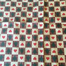 1 Yard Pine Trees and Hearts Checked Primitive Quilting 100% Cotton Fabric