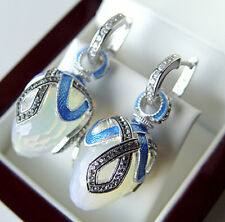 SALE ! RUSSIAN MOONSTONE made of STERLING SILVER 925  EARRINGS with ENAMEL