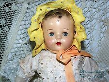 ANTIQUE COMPOSITION SLEEPY EYES EYELET COTTON DRESS YELLOW BONNET GIRL DOLL