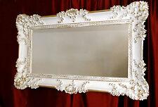 Bilderrahmen Barock Hochzeitsrahmen Weiß-Gold 97x57 Bilderrahmen Groß mit Glas