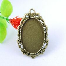 5pcs Antique Bronze Alloy Oval Lace Adjustable Cameo Setting Ring Craft 17*17mm