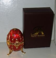 Taylor Avedon Red gld Enameled Crystal Accented EGG Music Trinket Box - New