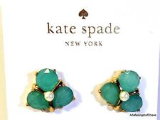 Kate Spade Green Crystal Cluster w/ Pearl Center Stud Earrings NEW $48 Gold Tone