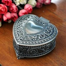 Vintage Heart Shaped Metal Jewelry Box Trinkets Case Casket