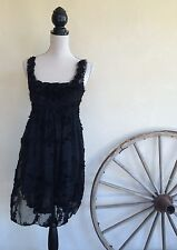PRETTY ANGEL Black Silk Victorian Renaissance Goth Fairy Lace Tunic Boho Dress M