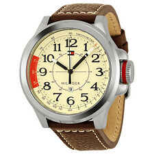 Tommy Hilfiger Sam Khaki Dial Brown Leather Strap Mens Watch 1790844