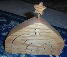 Handmade wooden wood Nativity children's decoration puzzle unique art Christmas