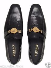 New Versace Black Ostrich and Crocodile Print Leather Loafers Shoes 43 - 10
