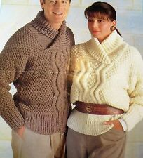 """#189 30-46"""" 76-117cm Chunky Cable Adult Teens Sweater Vintage Knitting Pattern"""