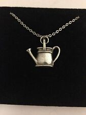 Watering Can R197 English Pewter on a Silver Platinum Plated Necklace 18""