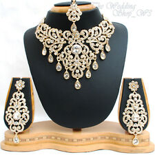Large Gold Diamante Indian Wedding Necklace Set Earrings Tikka Bridal Party NS02
