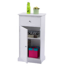 White Storage Floor Cabinet Wall Shutter Door Bathroom Organizer Cupboard Shelf