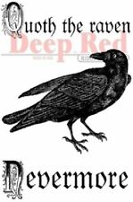 Deep Red Rubber Cling Stamp Quoth the Raven Nevermore Quote