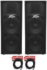 """(2) Peavey PV215 Dual 15"""" 2800w DJ Speakers + 14 Gauge Speaker Cables"""