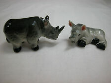 Porcelain Miniature Animal Wild Life African Rhino Set Pair #121