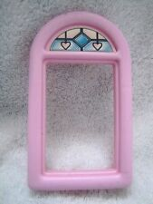 """FISHER PRICE Loving Family Dollhouse REPLACEMENT WINDOW ~ Pink & """"Stained Glass"""""""