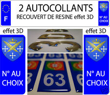 2 sticker plaque immatriculation auto RESINE 3D BLASON ARMOIRIES SAINT ETIENNE