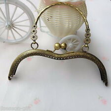 1PC 18.5cm Arc-shaped With Handle Metal Purse Bag Frame Kiss Clasp Lock