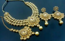 LCT CZ PEARL GOLD TONE BOLLYWOOD PARTY WEAR NECKLACE SET ETHNIC BRIDAL JEWELRY