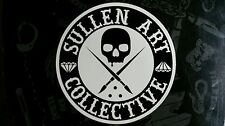 "Sullen Art Collective 4"" sticker Black tattoo pinup girl rockabilly skull badge"