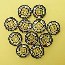 11 Very Pretty & Sparkly Rainbow Effect Vintage Glass Buttons With Black Edge