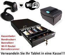 Kassen-Set: Geldlade, LAN Bondrucker mit Bonrollen, Wi-Fi Router, Barcodescaner
