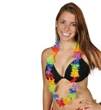 LOT OF 24 HAWAIIAN RAINBOW FLOWER LEIS LUAU BEACH PARTY CARNIVALS DECORATION