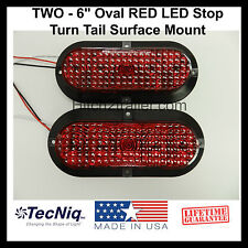 "2 - 6"" Oval RED LED Stop Turn Tail Light Surface Mount Trailer Truck Made in USA"