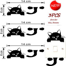 3Pcs Cat Wall Stickers Light Switch Decor Art Mural Baby Nursery Room Sweet Wand