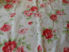 Antique Vintage French Shabby Cottage Roses Cotton Fabric ~ Strawberry Red Pink