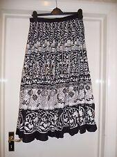 Black + white flower print boho skirt 12 w/ sequins ethnic hippy cotton