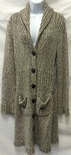 MOTH Anthropologie Long Midi Chunky Button Cardigan Gray Sweater Coat Size Large