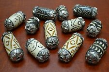12 PCS ASSORT CARVED BUFALO BONE BEADS WITH CAPS #BD-375