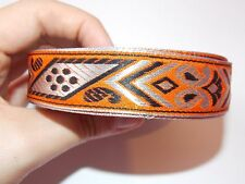1m orange jacquard embroidered ribbon lace applique motif trimming decor Indian