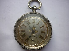 BEAUTIFUL ANTIQUE KEY WIND SILVER LADIES FOB WATCH - SILVER & GOLD DIAL