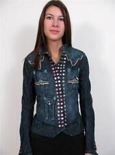 PARASUCO DARK DENIM PINK JEWEL SNAP BUTTON LADIES JEAN JACKET DRESS COAT TOP~XS