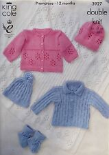 KNITTING PATTERN Baby Jackets Hats Bootees and Shawl DK King Cole 3927