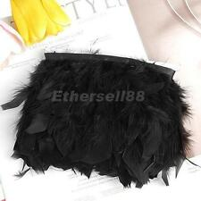 2Yards Turkey Feather Dyed Fringe Trim Hat Clothing Bag Curtain Decoration Black