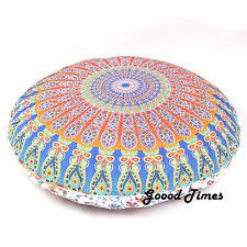 """Blue Bohemian Decorative Floor Pillow Cushion Cover Mandala - 32"""""""