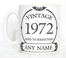 Vintage 1972 Aged To Perfection Mug PERSONALISED With Any Name Birthday Tea Gift