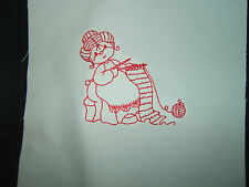 Shirley Sewing or Quilting  Machine Embroidery Quilt Blocks  Set of 10 Redwork