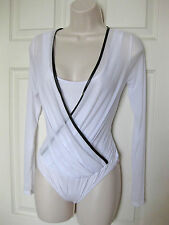 BEBE WHITE MESH SURPLICE LONG SLEEVE BODYSUIT TOP NEW NWT LARGE L
