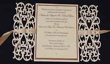 "Laser Cut Style ""gatefold "" Design Personalised wedding invitations"